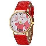 Sanwood Weihnachts-Armbanduhr, Damen, Weihnachtsmann, rundes Zifferblatt, Quarz, analog, arabische Zahlen