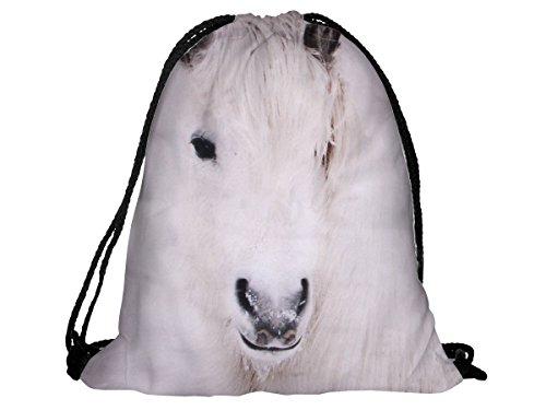 Sacca sportiva a tracolla per l'allenamento, ma non solo. Ultra leggero lifestyle viaggio borsa borsetta palestra zaino a spalla trend sport per uomini donne ragazzi ragazze bambini, RU-74 cavallo bianco