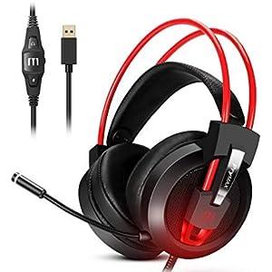 Prymax Gaming Headset, USB 7.1 Surround Sound Headset mit 360° verstellbarem Rauschunterdrückung Mikrofon, kristallklarer Sound, weiche Ohrmuschel, LED-Licht für PC/Mac/Nintendo Switch/PS4