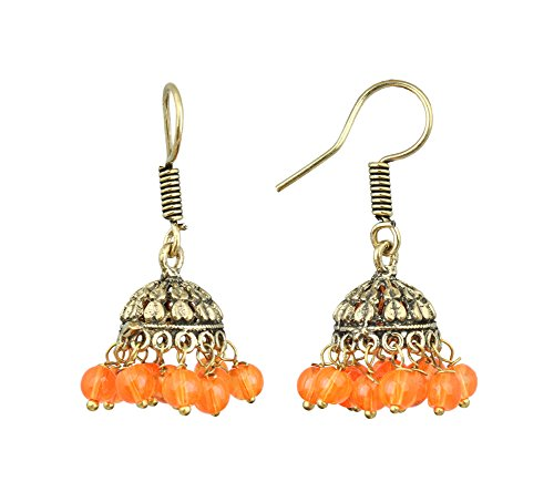 Waama Jewels Gold Plated Brass Jhumka/Jhumki Casting Earring for women and young girls special party wedding birthday college office wear with pearl color (Orange)  available at amazon for Rs.89