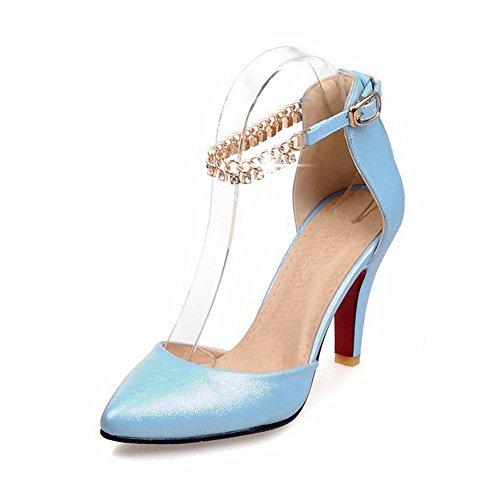 VogueZone009 Femme Pointu à Talon Haut Matière Souple Couleur Unie Boucle Chaussures Légeres Bleu