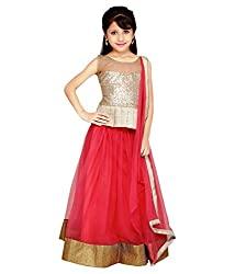 The Fashionup pink semistitched LenghaCholi for9-10year Girls