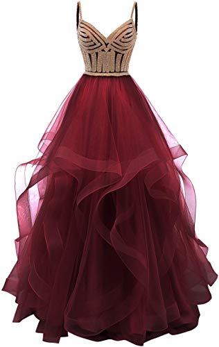 Burgund Quinceanera Kleid (Nanger Damen A Linie Prinzessin Ballkleider Lange Tüll Abendkleider Glitzer Quinceanera Kleider Burgund 38)