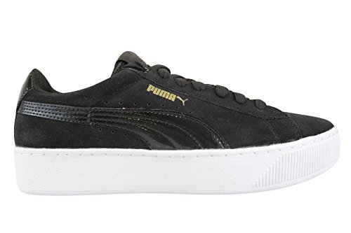 Puma Vikky Platform Leather Sneaker Women Kids Trainers 363287 05 Black White