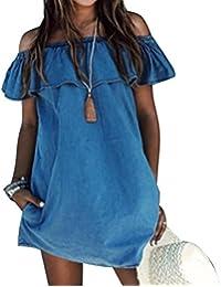 Mujeres vestido Diseñador suelto Slash cuello Jeans Vestidos Verano Casual sin mangas señoras elegante Denim vestidos