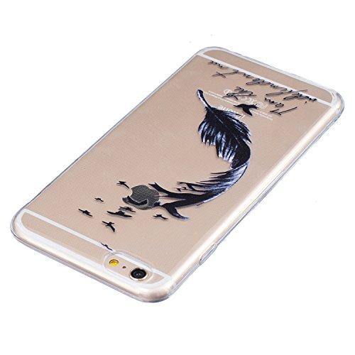 iPhone 6S plus Slimcase,iPhone 6 plus Klar Schutzhülle, Aeeque® [Schwarzen Katze Kopf Muster] Stabil Ultra Dünn Weich Kratzfest Silikon Durchsichtig Zurück Bumper Back Case Cover für Apple iPhone 6 pl Schwarz Feder #2