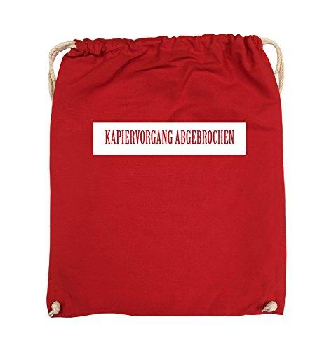 Comedy Bags - KAPIERVORGANG ABGEBROCHEN - Turnbeutel - 37x46cm - Farbe: Schwarz / Pink Rot / Weiss