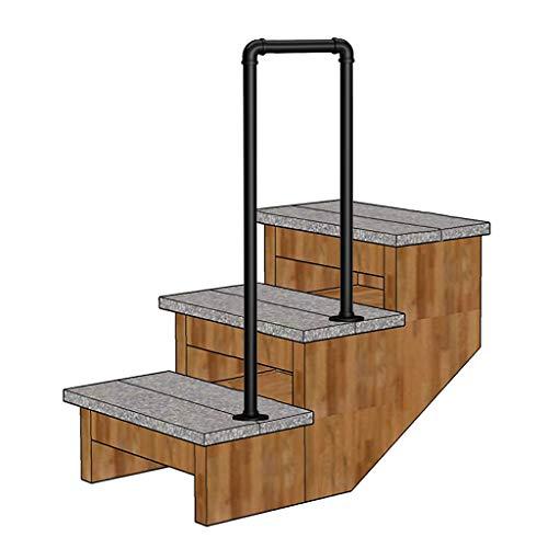 YFF-Handläufe Treppengeländer 1 oder 2 Schritte Matt-schwarz Handlauf Schmiedeeisen Geländer mit Einbausatz für außen und innen