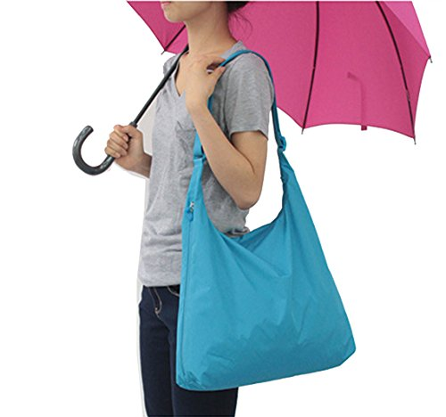 Sumolux Borsa Spesa Pieghevole Impermeabile Shopping Borsone Raccoglitore a Tracolla Casual Outdoor da Viaggio Campeggio blu chiaro