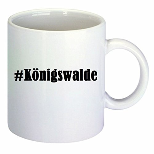 Kaffeetasse #Königswalde Hashtag Raute Keramik Höhe 9,5cm ⌀ 8cm in Weiß