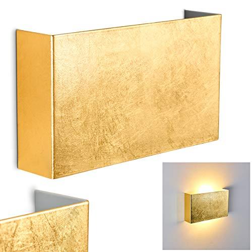 Applique Murale Crotone design, en métal doré, pour deux ampoules E14 max 40 Watt, compatible ampoules LED