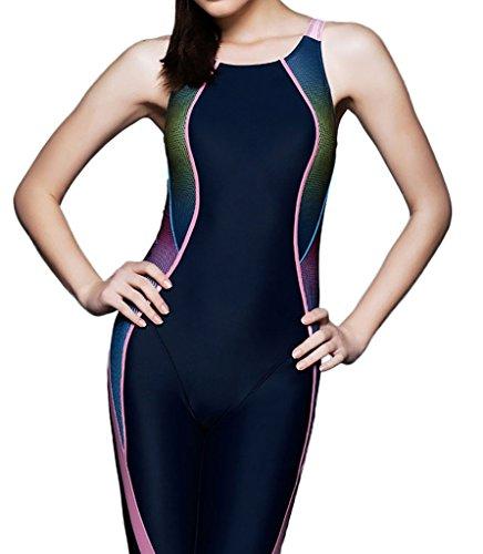 PHINIKISS Damen Einteiler Badeanzug Schwimmanzug mit längerem Bein Legsuit Bademode