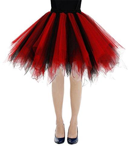 bbonlinedress Kurz Retro Petticoat Rock Ballett Blase 50er Tutu Unterrock Black-red ()