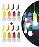 COLORS LED-Glühlampe mit 1 W, bunt, tragbar, Vista in Fernseher, Angeln, Camping, Lampe 8 Lampadine Verde Magenta Arancione Giallo