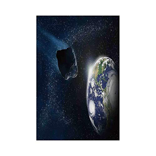 Liumiang Eco-Friendly Manual Custom Garden Flag Demonstration Flag Game Flag,Galaxy,Attack of The Asteroid Rocky Dark Body Comet on Planet Earth Meteor Shower Print,Dark Blue Greyarden d¨¦COR
