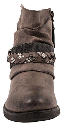 Elara Damen Biker Boots | Trendige Kurzschaft Stiefeletten | Schnallen Nieten Grau New York