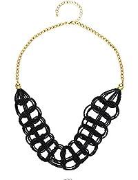 Front Row collar mujer color de oro con material acrílico negro - longitud 57-64cm