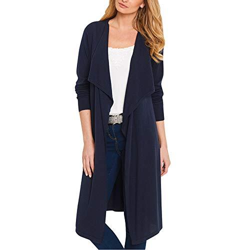 Cloom donne cappotto con cardigan aperto sul colletto anteriore rovesciato solido casual cardigan donna invernale elegante maglione donna invernale eleganti tumblr giacca (navy,xx-large)