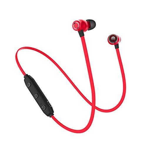 Drahtlose Sport-Kopfhörer mit wasserdichten, schweißfesten HD-Stereo-Ohrhörern mit Mikrofon (rot)