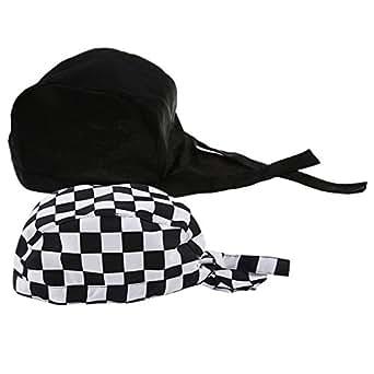MagiDeal 2er Set Kochhut Kochbekleidung Bistrom/ütze Kochm/ütze Bandana Herren Kopfbedeckung Kopftuch