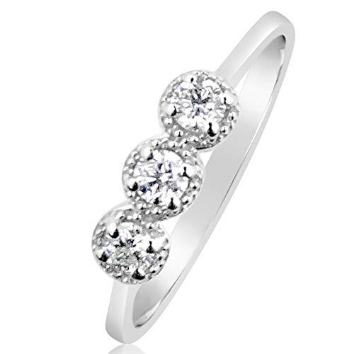 16cb5ac6b865 Anillo Mujer Compromiso Oro y Diamantes - Oro Blanco 9 Quilates 375  Diamantes 0.10 Quilates