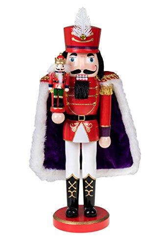 Clever Creations - Nussknacker-Prinz mit lila Gewand und Spielzeug-Nussknacker in der Hand - Festliche Weihnachtsdeko - Sammlerstück - perfekt für Regale & Tische - 100% Holz - rot - 35,6 cm
