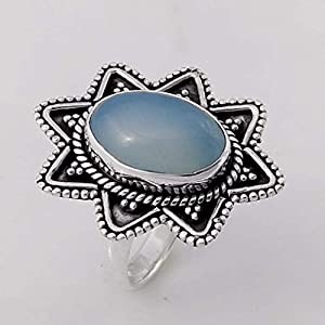Blue Chalcedony Solid 925 Sterling Silver Ring Jewelry