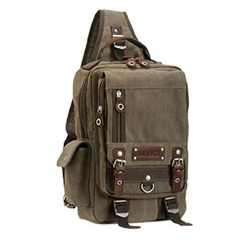 Fashion Men Sling Chest Pack Schulter Rucksack Canvas Leder Schultertasche A4 Satchel Rucksack für Mann Brown -