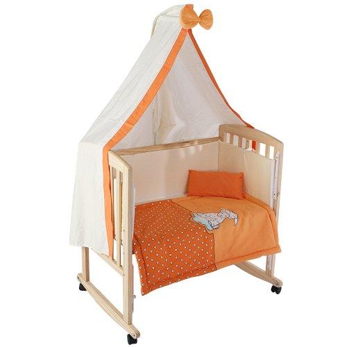 Infantastic, Culla con materasso, biancheria da letto e supporto per baldacchino, Arancione (Orange dream)