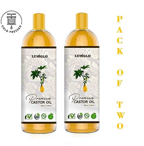 Lumiglo Premium Organic Cold Pressed Castor Oil For Hair, Skin, Nails & Body (PACK OF TWO - 200ml)