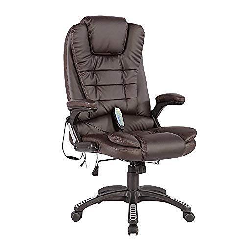 mecor Massage-Bürostuhl mit Heizung 6-Punkt-Massagesessel Relax Sessel Drehstuhl Chefsessel aus Kunstleder Braun
