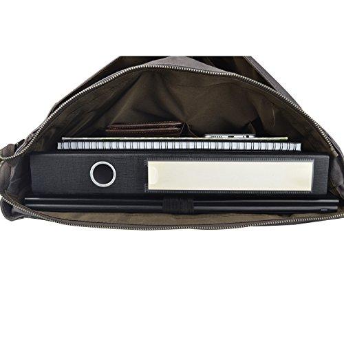 Estarer Arbeitstasche Laptoptasche 15.6 Zoll Wasserabweisend Canvas Grau Braun
