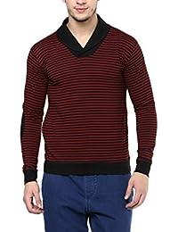 Hypernation Red And Black Stripe Shawl Collar Cotton T-shirt For Men
