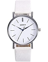 Kinlene Cristal de espejo relojes,Relojes De mujer Correas De Cuero Genuino Reloj De Cuarzo Luces Relojes Calendarios (white)