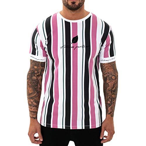 TWISFER-Herren T-shirt Kurzarm Sommer KurzäRmliges Fitness-Top Mit Vertikalen Streifen Und Blattmuster Fitness-Oberteil -