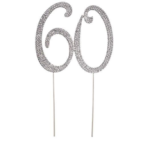 PiniceCore 60 Kuchen-Deckel für 60.en Geburtstag Geburtstagsparty-Kristalls Strass dekorativen Kuchen-Deckel für Hochzeitsfest-Gold (60 Kuchen-deckel Gold)