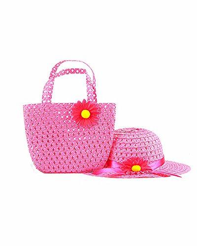 SAMGU Mädchen Kind Strand Hüte Taschen Blumen Strohhut Kappe Handtaschen Tasche Anzug Kinder Sommer Sonnenhut Farbe Rose rot