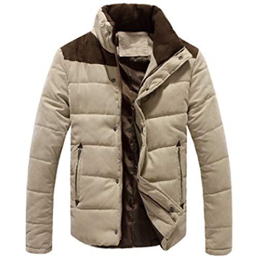 Hiver Mode Homme Grande Taille Casual Parka Doudoune Manteaux Chaud épais Veste Slim Manteau Court Paragraphe Zipper feiXIANG ? (Kaki,XXXXL)