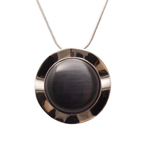 Bedazzled dunkel grau rund Katzen Auge Stein Halskette Anhänger mit Silber Farbe-In Geschenkverpackung