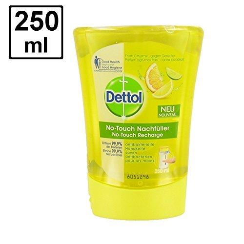 Dettol No-Touch Ricarica Anti- Odore Lavaggio A Mano Batterica Neutralizzare Fresco Di Agrumi Squeeze (250ml) (Confezione da 6)