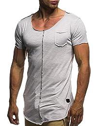 Camiseta De Manga Corta De Los Hombres De Moda O Cuello Clásico Blusas De Color Sólido