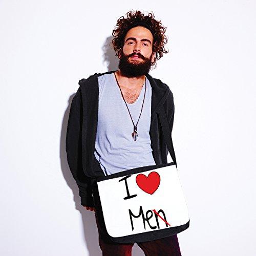Borsa a tracolla I love me - humor - dimensioni 35x30x11,5 cm Bianco