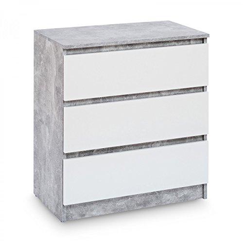 Galdem Kommode mit 3 Schubladen Sideboard Mehrzweckschrank Anrichte Diele Flur Esszimmer Wohnzimmer Schlafzimmer (Beton - Weiß)