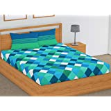 SheetKart 144 TC Cotton Double Bedsheets with 2 Pillow Covers - Blue and Green