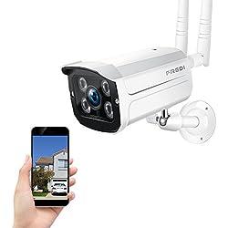 WiFi Wireless IP Security Cámara Bala(resistente al agua) Monitor de Seguridad Cámara de seguridad inalámbrica/camara vigilancia exterior Admite tarjeta SD 128G(no incluye) Vision Nocturna