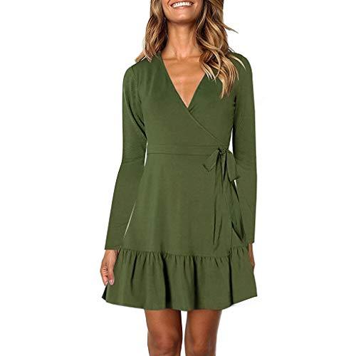 Damen Rüschenkleid Elegante V-Ausschnitt A-Linie Langarm Kleid Unregelmäßig Rüschen Kleider Freizeitkleider Mini Kleid Festlich Baumwolle Kleider Bodycon Party Kleid Abendkleid