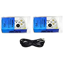 Jain Info Branded New Pack Of Two PS3 Wireless Controller Joystick For PS3 Console (White Color)