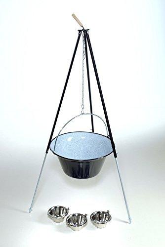 Original ungarischer Gulaschkessel (50 Liter) + Dreibein-Gestell (180cm) ✓ Emailliert ✓ Kratzfest ✓ Inkl. 3 Schüsseln | Teleskop-Dreifuß mit Gulasch-Topf, Suppentopf, Glühweintopf | Kochkessel für Kesselgulasch, Glühwein-Kessel im Set