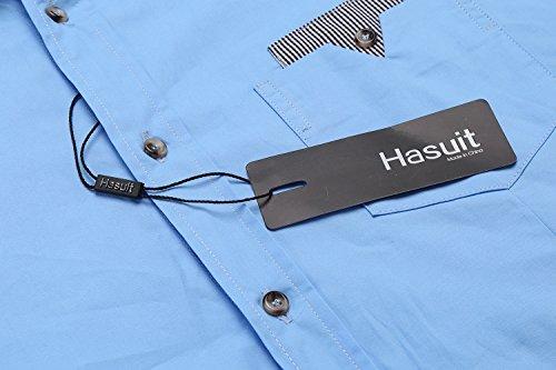 Hasuit Herren Hemd Baumwolle Slim Fit Langarm Farbekombination Basic Mode Blau 2