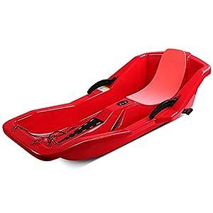 ZHAOK Kunststoff Kinderschlitten Schlitten mit 2 Griffe Bremshebel-Leicht zu tragen, für den Winter im Freien geeignet,Rot